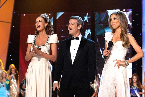 Alyssa Campanella, Miss USA 2011 with hosts Andy Cohen and Guiliana Rancic