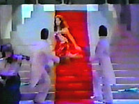 Kari Larson, Miss North Dakota Teen USA 1984 falls during the evening gown competition.  It was the fall before all falls.