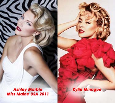 Ashley Marble, Miss Maine USA 2011 and Kylie Minogue