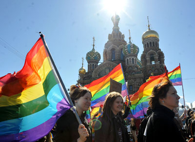 Gay rights activists march in Russia's second city of St. Petersburg May 1, 2013