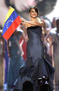 Stefania Fernandez, Miss Universe 2009 holds the Venezuelan flag