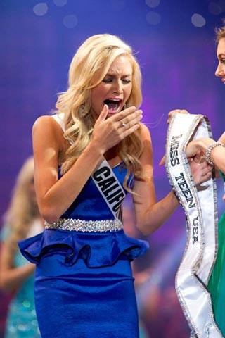 Miss Teen USA 2013, Cassidy Wolf reacts to her win