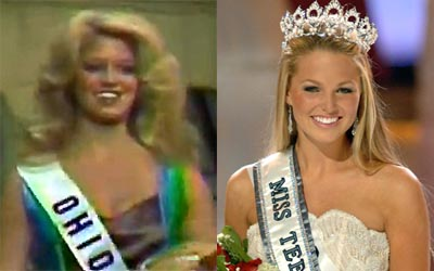 Miss Ohio USA 1977, Lesa Rummell (left) and her daughter, Miss Teen USA 2005, Allie Laforce (right)