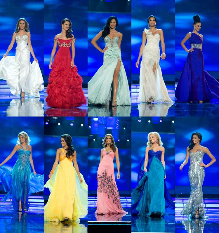 Top 10 evening gown: Australia, Venezuela, South Africa, Dominican Republic, Kosovo, Czech Republic, Switzerland, Puerto Rico, USA, France
