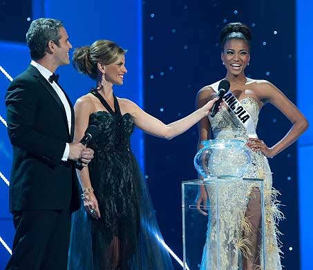 Hosts Andy Cohen and Natalie Morales with Leila Lopes, Miss Universe 2011
