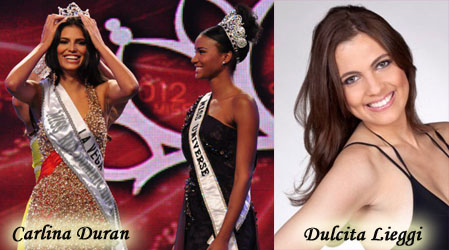 Carlina Duran is crowned Miss Dominican Republic but she was married so she is replaced by Dulcita Lieggi