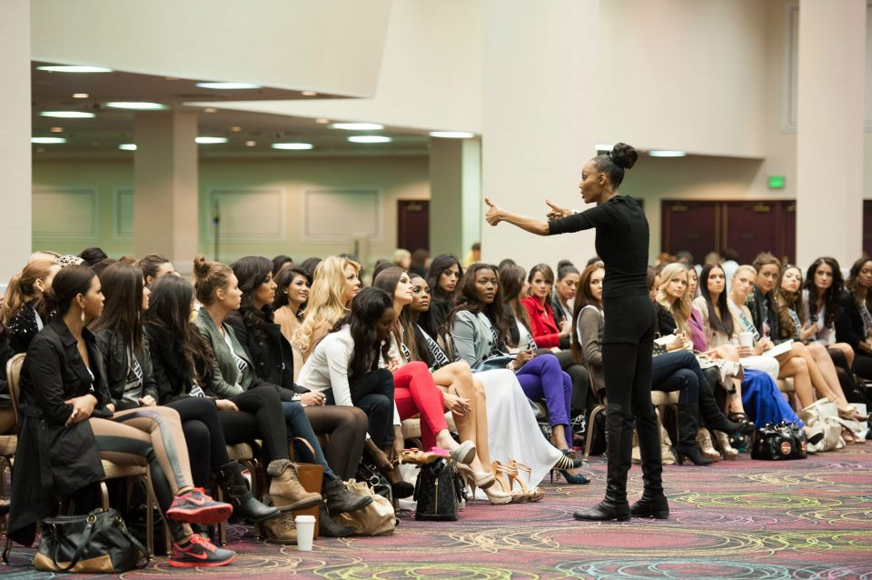Lu Sierra, Fashion Walk Consultant, works with the Miss Universe Contestants during rehearsals at Bally's Las Vegas Hotel & Casino in Las Vegas, Nevada.