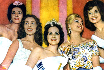 The top 5 of Miss Universe 1960 - Utah's Linda Bement in the middle and her royal court.