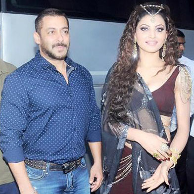 Urvashi Rautela with Bollywood star, Salman Khan