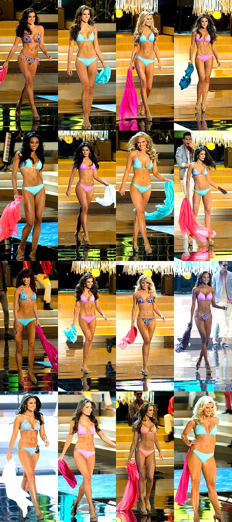 Miss USA 2012 Swimsuit Competition: Tennessee, Alabama, Ohio, Michigan, Maryland, New Jersey, Texas, Colorado, Oklahoma, Louisiana, Maine, Georgia, South Carolina, Rhode Island, Nevada, Arkansas