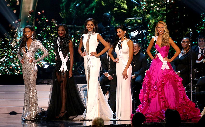 The top 5 of Miss USA 2015: (pictured left to right) Nevada, Maryland, Rhode Island, Texas, Oklahoma