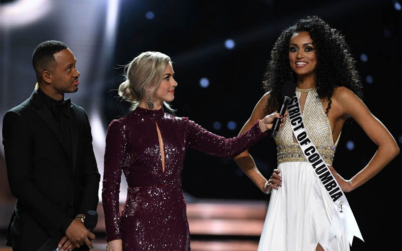 Terrence J, Julianne Hough and Miss USA 2017-Kára McCullough during the question round