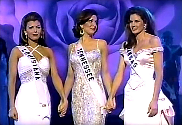 The top 3 of Miss USA 1996 - Ali Landry of Louisiana, Becca Lee of Tennessee and Danielle Boatwright of Kansas